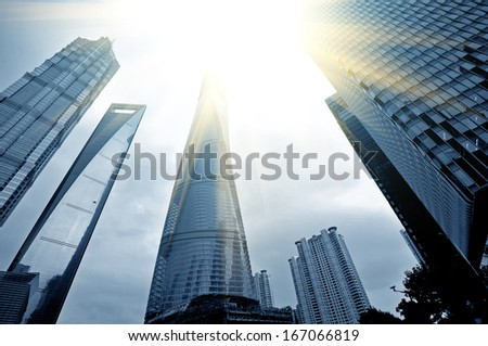 Office building as the background, the landmark of Shanghai in China