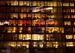 Office building at night, Paris