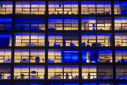 Office building at night. Rotterdam, The Netherlands.