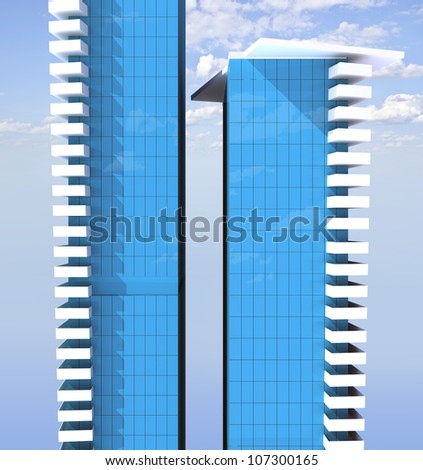 office building complex of two skyscrapers on the sky background