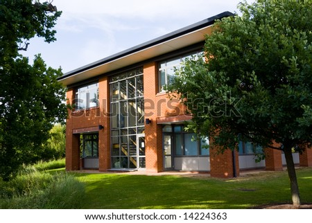 Office  building facade in natural day light. Horizontal. - stock photo