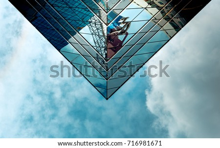 Office Building in Hong Kong, close up #716981671
