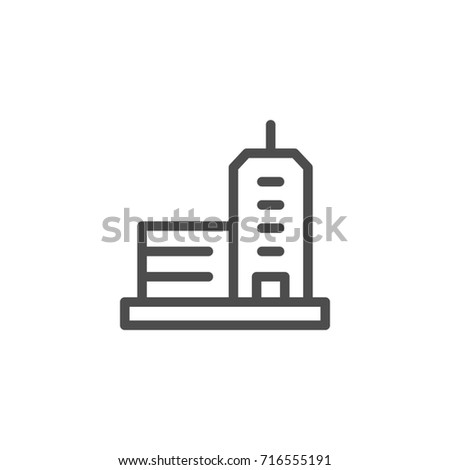 Office building line icon isolated on white