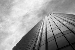 Office building on a cloudy day, black an white