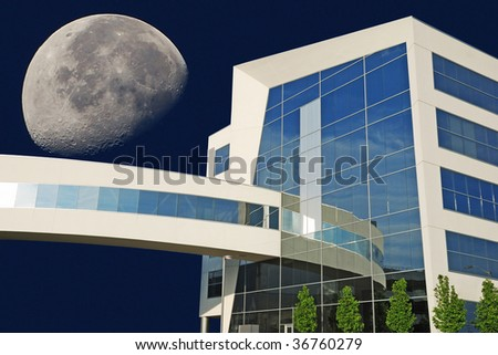 office building over the moon