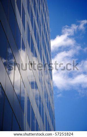 Office buildings against a clear blue sky