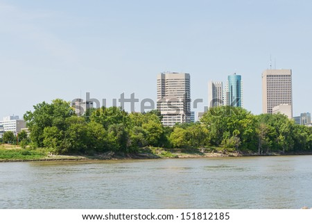Office buildings along the Red River, Winnipeg, Manitoba, Canada