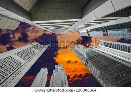Office buildings at sunset