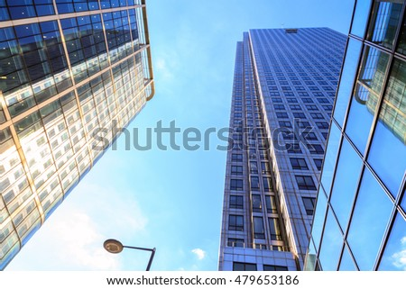 Office buildings in Canary Wharf, financial district of London #479653186