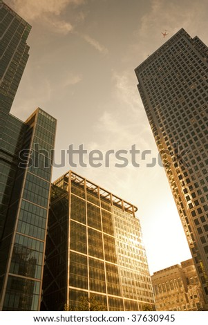 Office buildings in Canary Wharf, London before sunset