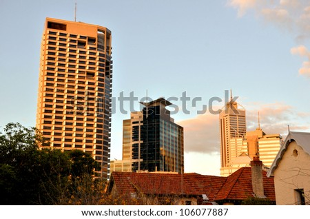 Office Buildings in Perth at Sunset