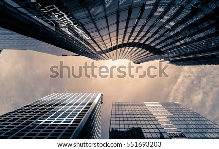 Office buildings stretch up to the sky in Hong Kong #551693203