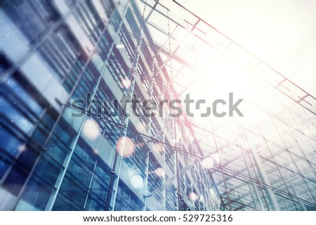 Office bulding facade art abstract graphic with sun, bokeh lights and dust