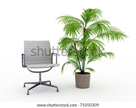 office chair and a flower