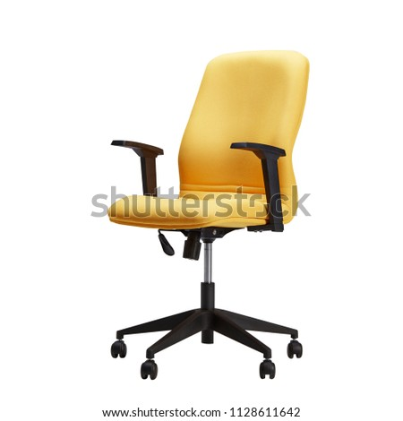 Office Chair or Desk chair, Yellow leather chair, isolated on white background with clipping path #1128611642
