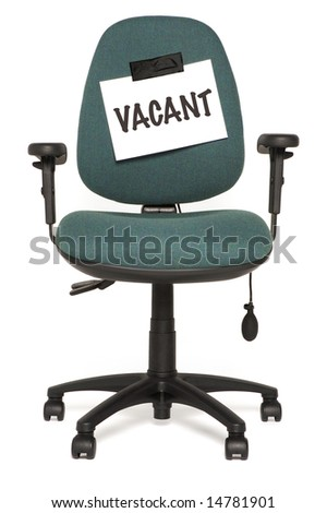 office chair with vacant sign
