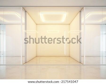 Office clean interior with empty rooms