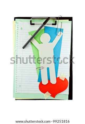Office clipboard with colorful paper sheets, paper heart, clips and paper man.