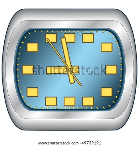 Office clock in steel frame. Vector without mesh