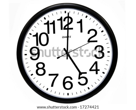 Office clock showing 5 o'clock, isolated on white