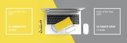 Office computer gadget on Ultimate Gray and Illuminating yellow background. Color of the year 2021. Hygiene banner with protective medical mask, sanitizer. Virus protection stay home remote work