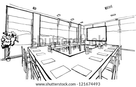 Office, conference hall. Hand drawing, inc, isolated on white