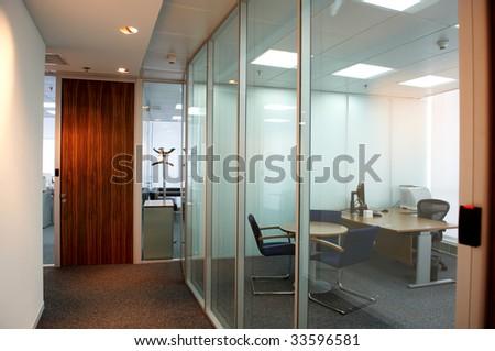 office corridor door glass partitions room business - stock photo