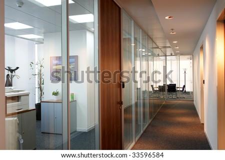 office corridor door glass partitions room business #33596584