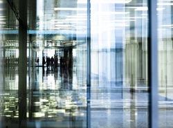 office corridor reflections