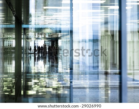 office corridor reflections - stock photo