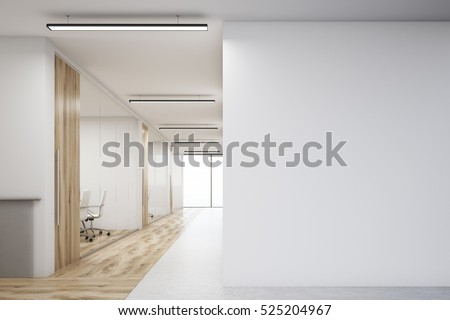 Office corridor with large blank wall and row of conference rooms with wooden wall and floor decoration. 3d rendering. Mock up.