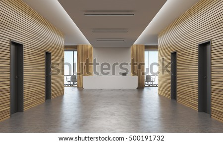 Office corridor with several doors and reception counter in the end. Concept of legal company interior. 3d rendering. Mock up. #500191732