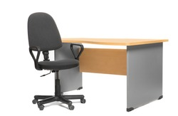 Office desk and chair. Isoalted on white.
