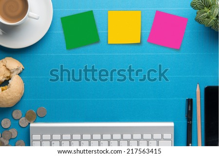 Office desk,Office supplies and coffee cup