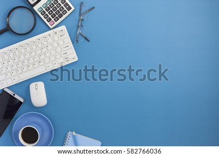 Office desk table of Business workplace and business objects #582766036