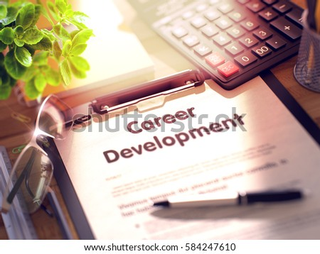 Office Desk with Stationery, Calculator, Glasses, Green Flower and Clipboard with Paper and Business Concept - Career Development. 3d Rendering. Toned and Blurred Image.