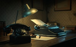 Office desk with vintage typewriter, 1950s film noir style