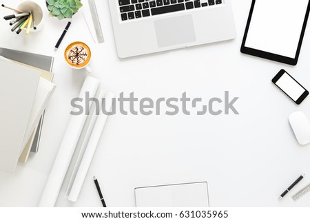 Office desk wood table with labtop computer,blank magazine smart phone and coffee cup Top view with copy space,3D rendering