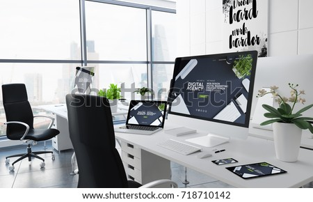office desktop 3d rendering with digital agency on screen