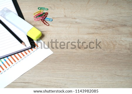 Office desktop with office accessories, Desktop with business objects. Business objects on wood work table. #1143982085