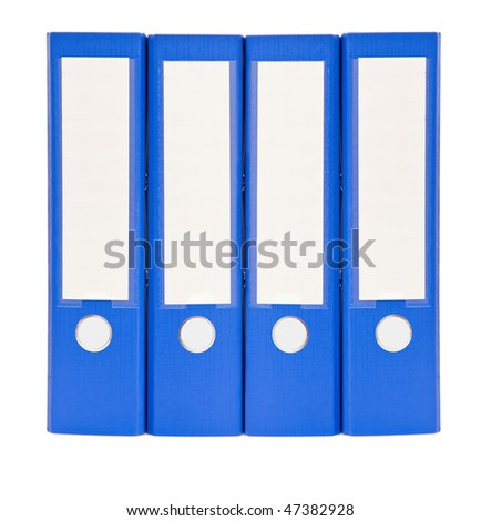 office document folders close up on white