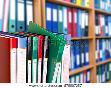office document folders standing in a row  #575507257