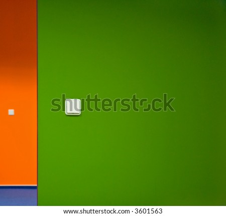 Office environment with colorful walls and white switches on them