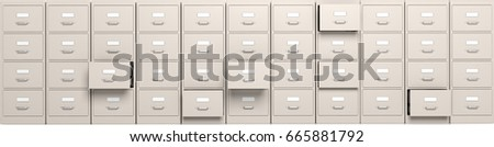 Office filing cabinets with open drawers, banner. 3d illustration