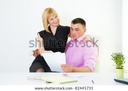 Office flirt with boss and secretary