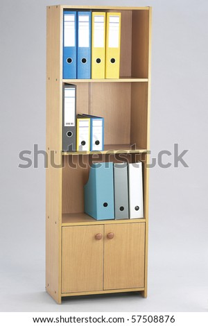 Office folders at the shelf. Organizer.