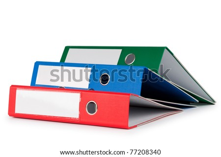 Office folders isolated on the white background