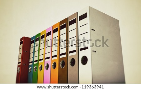 office folders isolated on white background