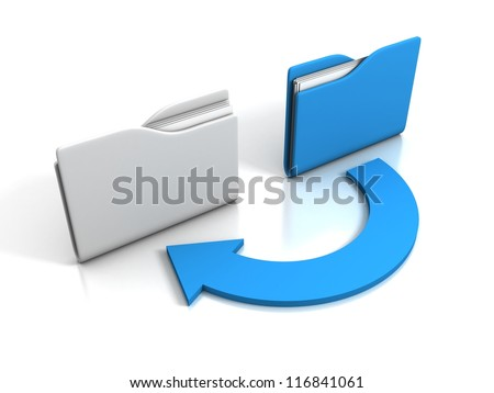 office folders with cycle arrow on white background