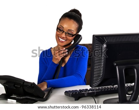 office girl helping a customer over the phone